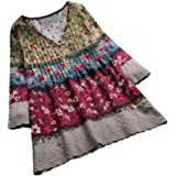 SMILEQ Top Women Casual Shirt Vintage Floral Print Patchwork Long Sleeves V-neck Blouses Top