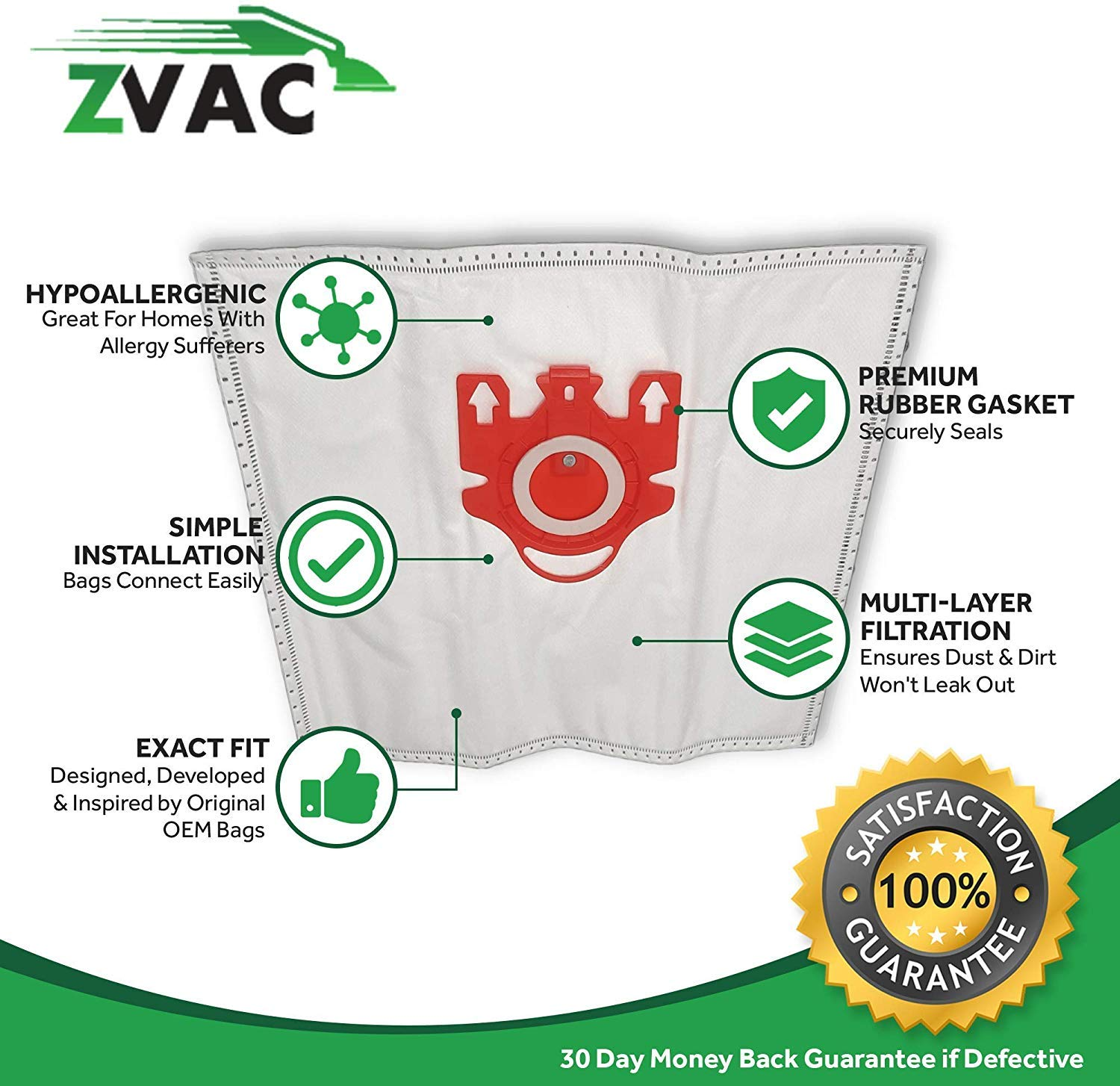 ZVac FJM Miele Replacement Vacuum Bags Multi-Ply Type Bag Set 10-Piece Micro-Filtration 4 HEPA-Style Media Filters Stay Sealed Air-Cleaning Efficiency Quick and Easy Connection Snug Fit