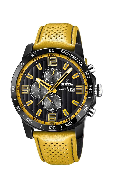 Men 's Watch Festina – f20339 / 3 – クロノグラフ – 日 – イエローandブラック  B071X8LFJX