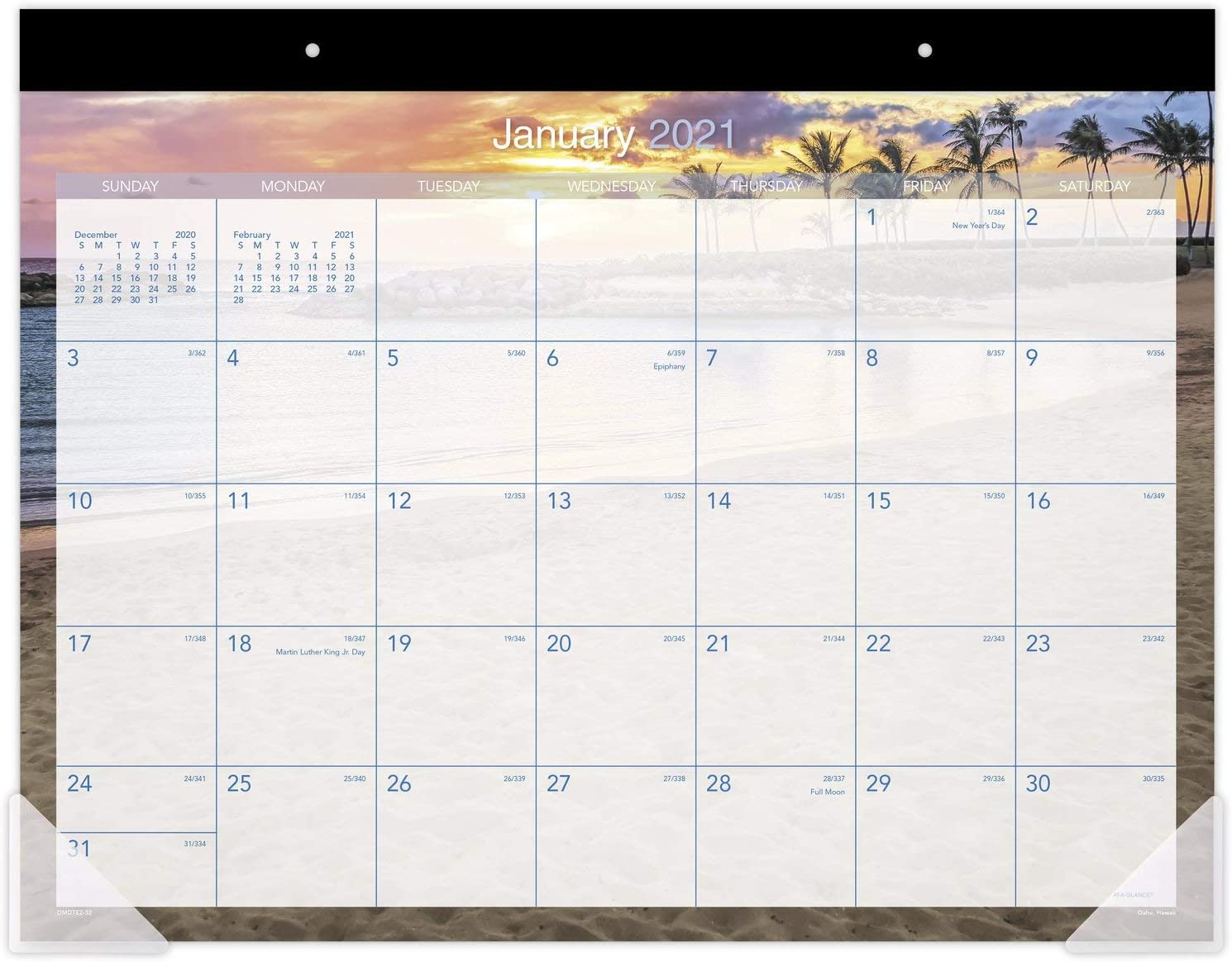 "2021 Desk Calendar by AT-A-GLANCE, Monthly Desk Pad, 21-3/4"" x 17"", Standard, Tropical Escape (DMDTE23221)"