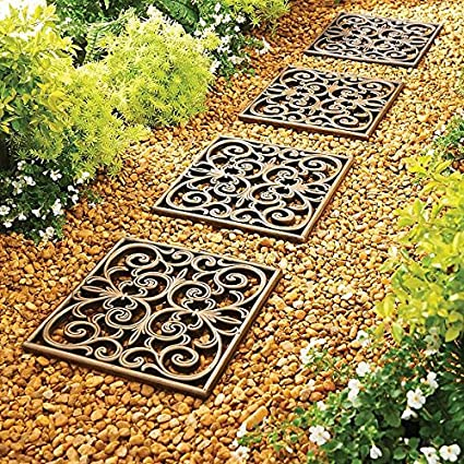 Home Improvements Outdoor Garden Set Of 3 Square Rubber Stepping Stones  Tiles Walkway Scrolled Copper