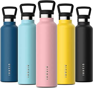 OISHHI Water Bottle, Triple-Wall Vacuum Insulated Bottles Cold or Hot Water - 18/10 (SUS316) Stainless Steel Sports Hydro Thermos Standard Mouth Flask with Leak Proof Cap - Silicone Bottom Cooler Mug