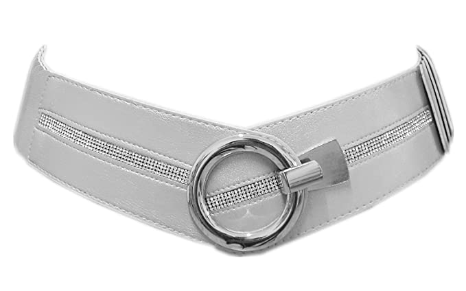 18f097693c334a Lolita Damen Stretchgürtel mit Rillen Strass Glitzer Taillen Hüftgürtel  Silber C-9250