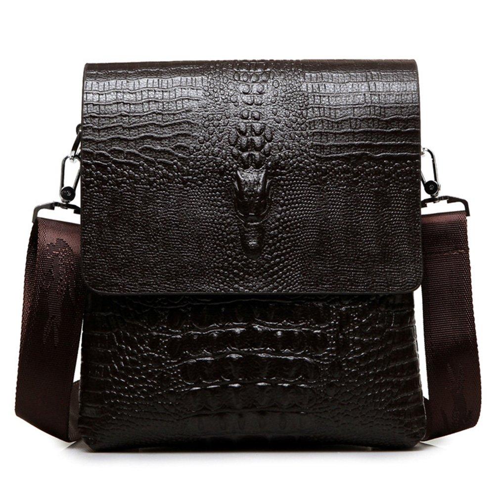 MYMYU Mens Genuine Leather Casual Cross Body Shoulder Bag Business Messenger Briefcase Handbag With Crocodile Pattern