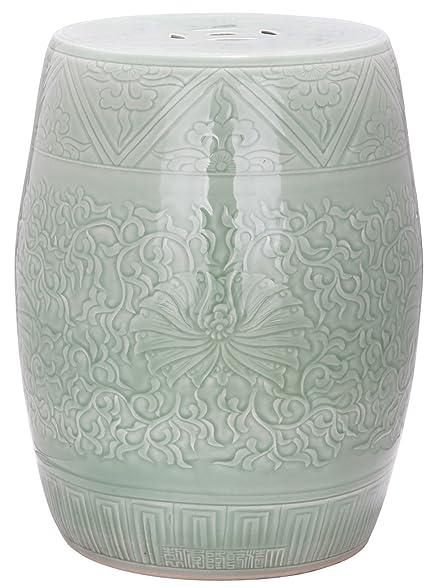 Safavieh Castle Gardens Collection Embossed Ceramic Garden Stool, Lime Green