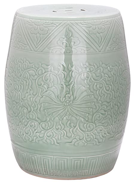 Superieur Safavieh Castle Gardens Collection Embossed Lime Green Ceramic Garden Stool