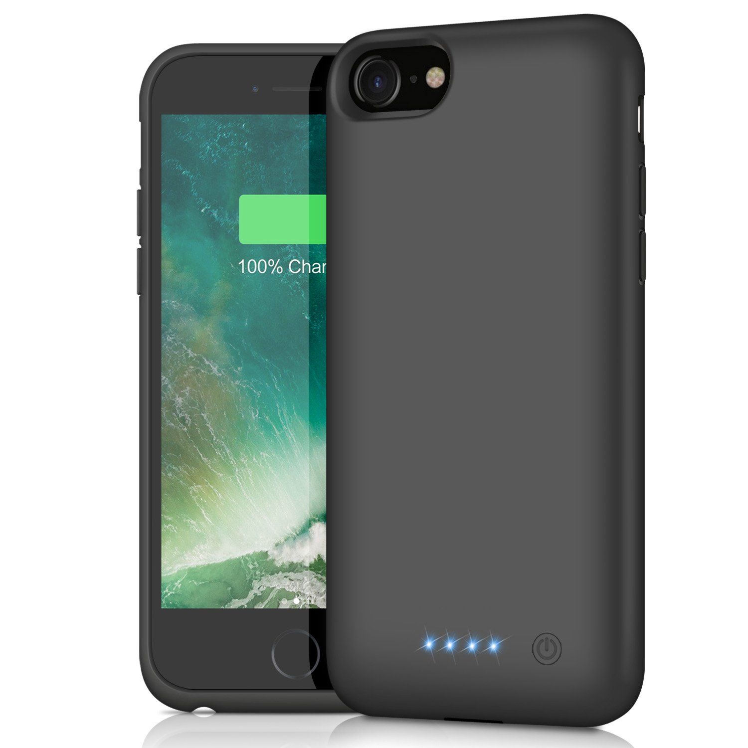 iPhone 8/7 Battery Case, 6000mAh Rechargeable Charger Case Portable External Battery Pack for iPhone 7/8 Protective Charging Case Apple Battery Power Bank (4.7 Inch) (Black)