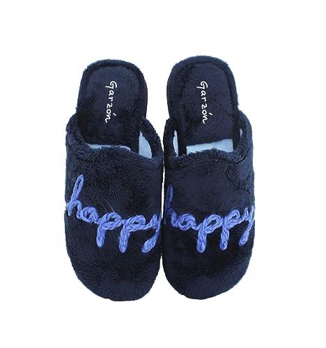 Garzón - Zapatillas de casa Mujer Marino Happy - Marino, 36: Amazon.es: Zapatos y complementos