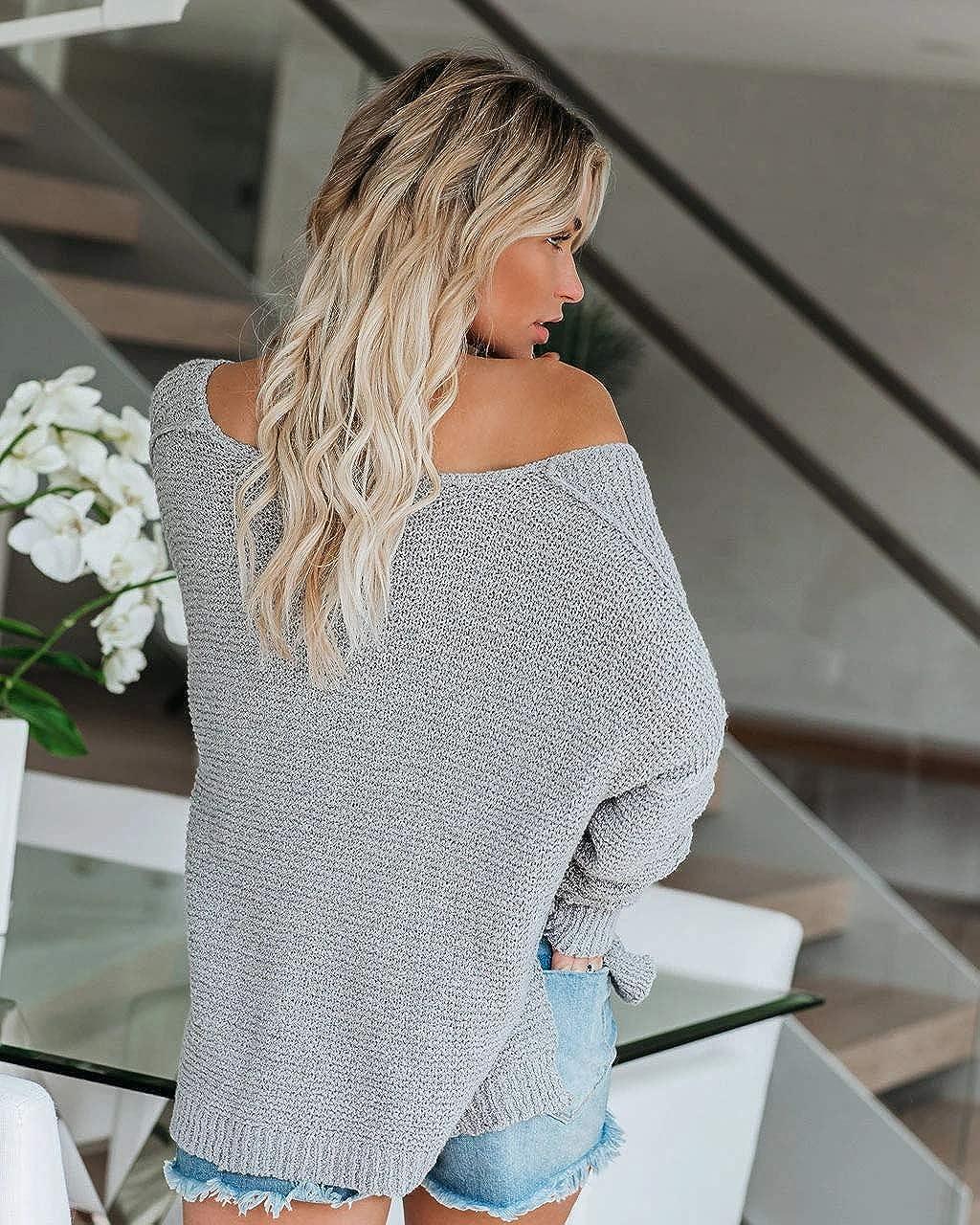 Ribtorsp Womens Loose Off Shoulder Sweater V Neck Batwing Sleeve Jumpers Side Slit Pullover Knitwear Tops