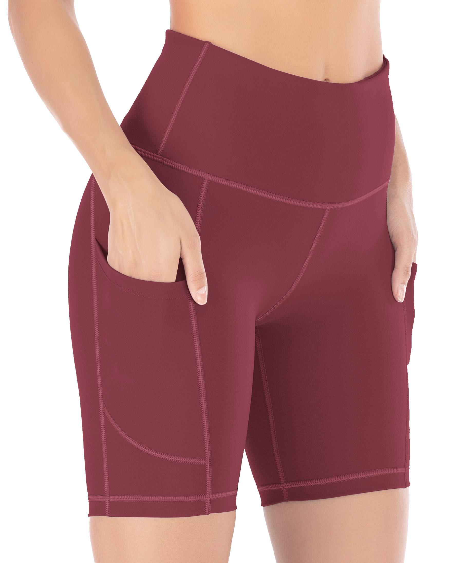IUGA Yoga Shorts for Women Workout Shorts Tummy Control Running Shorts with Side Pockets Maroon by IUGA