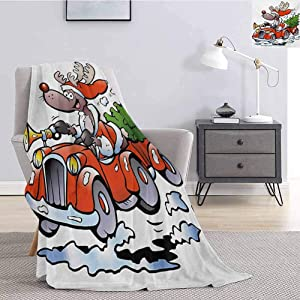 Luoiaax Christmas Bedding Flannel Blanket Reindeer Racing in Red Vintage Car with Xmas Tree Horn Santa Hat Winter Super Soft and Comfortable Luxury Bed Blanket W60 x L50 Inch White Red Green