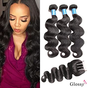 Amazon Com Glossy Brazilian Human Hair Extensions Body Wave Weave