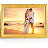 BOJIN Vintage Picture Frame , Plexiglass(Plastic) Screen Wooden Frame for Wall, A4 Picture Frame,University Wedding Frame - Gold