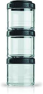BlenderBottle GoStak Twist n' Lock Storage Jars, 100cc 3-Pak, Black