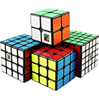D-FantiX Moyu Cube Bundle 2x2 3x3 4x4 5x5 Speed Cube Set MF2S MF3S MF4S MF5S Pack Black Puzzle Toy Gift Box