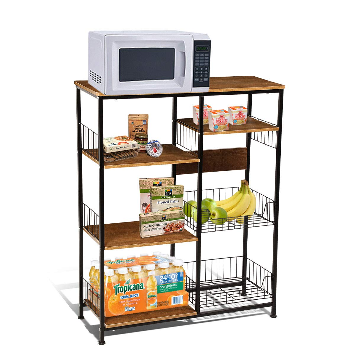 Magshion Baker's Rack Kitchen Island Dining Cabinet Basket Storage Shelves Organizer Wood (Brown)