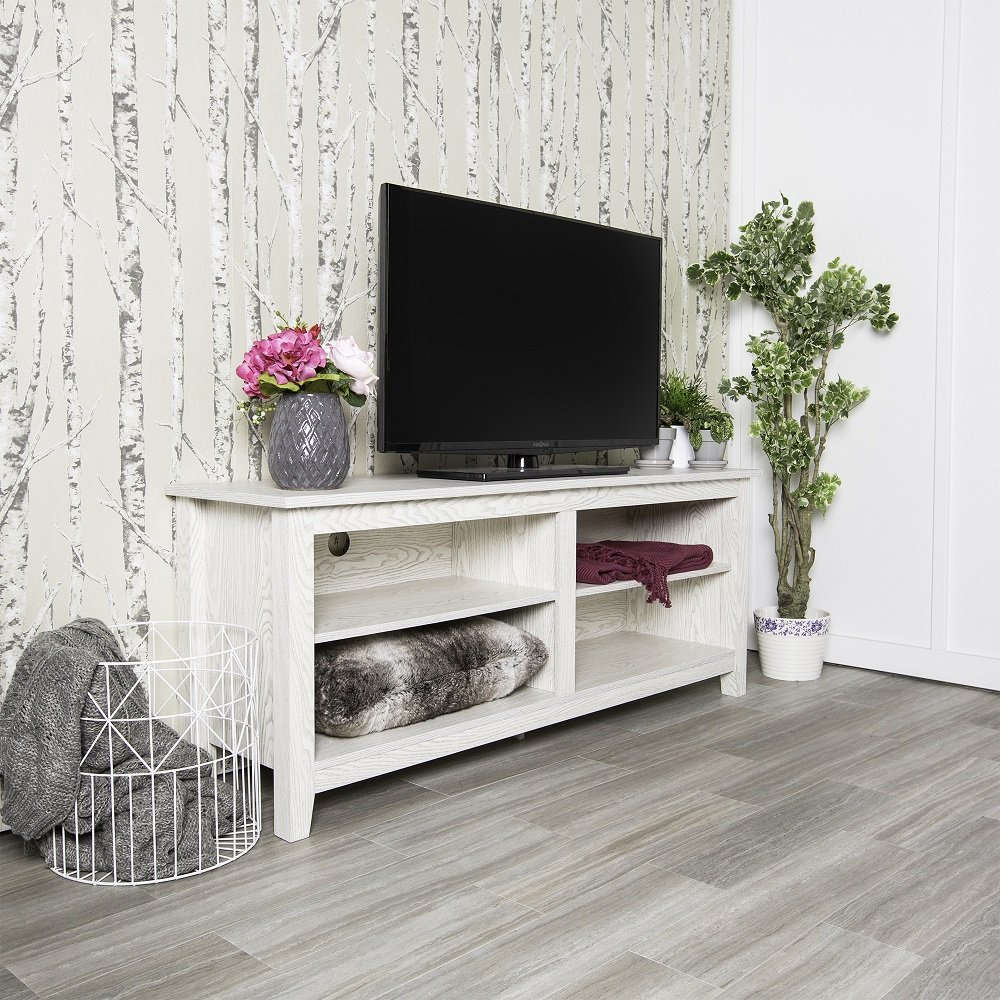 New 58 Inch Wide White Wash Finished Television Stand