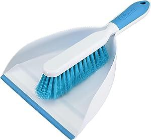 EVERCLEAN Small Hand Broom & Dustpan Set with Professional Grade Ergonomic Brush Design & Soft Molded Lip for Maximum Efficiency - Aqua/White (6670)