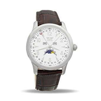 Davis 1501 - Mens Moon Phase Watch Triple Date White Dial Brown leather Strap