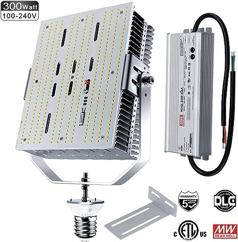 DLC 240W LED Shoebox Pole Light Replace 1000Watt MH Tennis Court Lighting 5700K