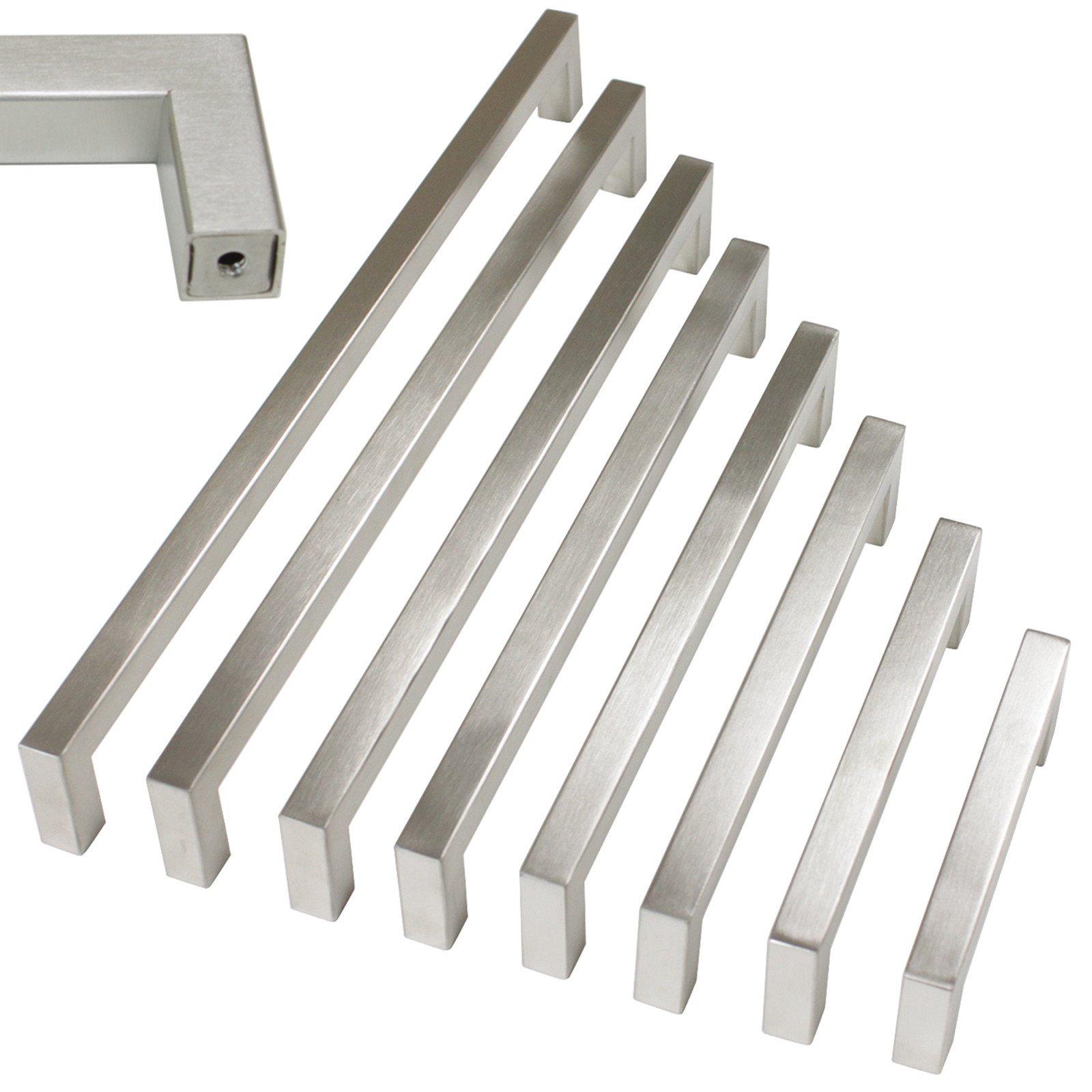 15 pack Probrico 1/2 in Stainless Steel Square Corner Bar Kitchen Cabinet Door Handles Brusehd Satin Nickel Hole Centers 6-1/4 inch 160mm