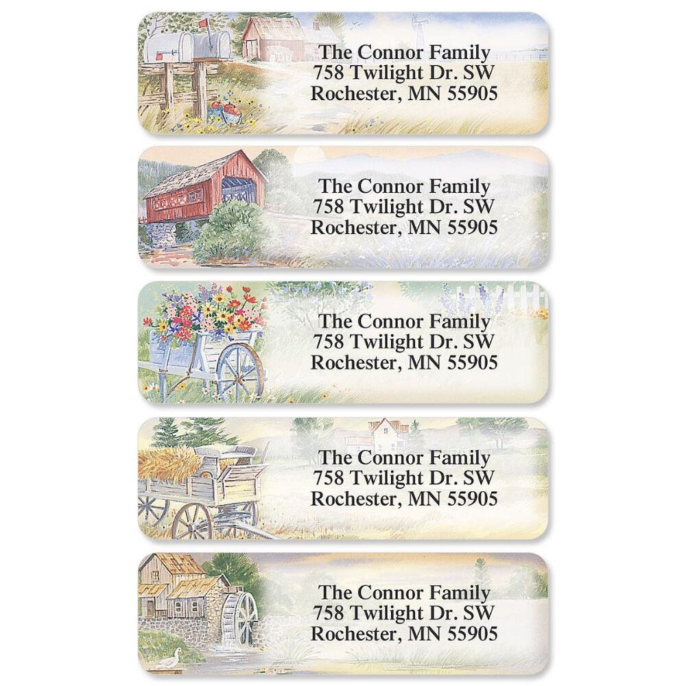 Quantity by Colorful Images Small 6 Designs American Countryside Rolled Personalized Return Address Labels with Dispenser Self-Adhesive Labels Set of