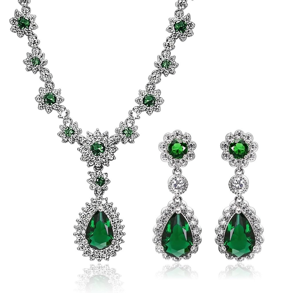 KnSam Women Platinum Plate Flower Teardrop Green Necklace Earring Set Crystal[Novelty Bridal Jewelry Set]