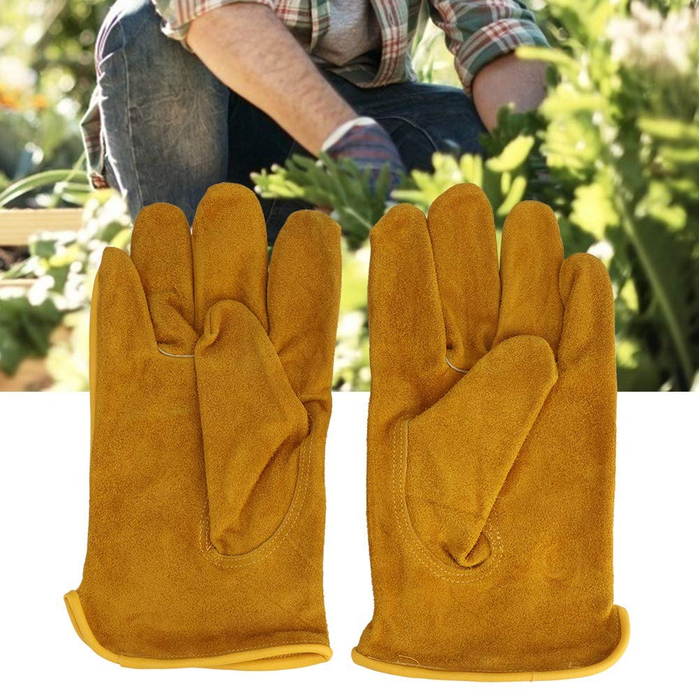 Zerodis 1Pair Premium Leather Cowhide Non-Slip Labor Working Gloves Gardening Construction Planting Plant Flower Pruning Protective Glove with Adjustable Wrist Closure L