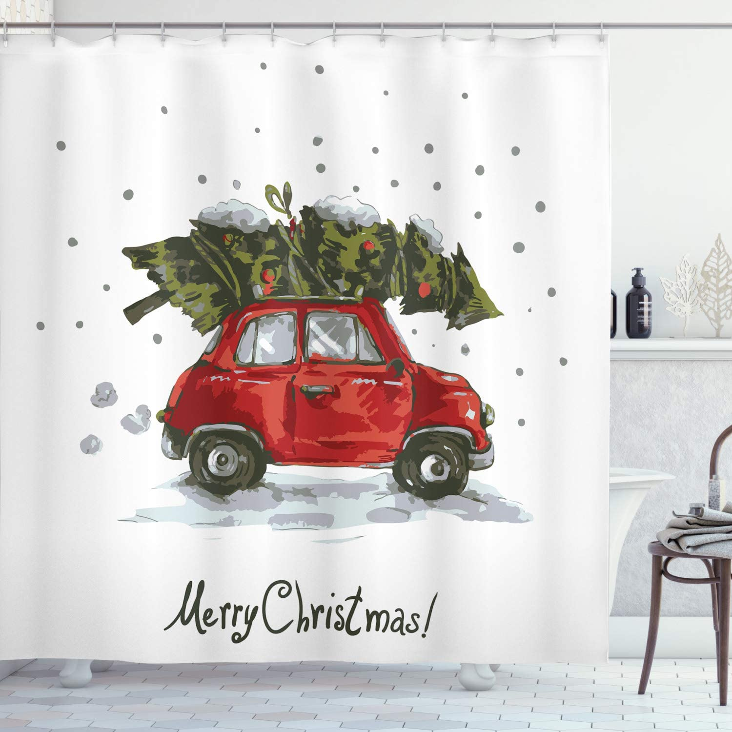 "Ambesonne Christmas Shower Curtain, Retro Style Car Xmas Tree Vintage Family Style Illustration Snowy Winter Art, Cloth Fabric Bathroom Decor Set with Hooks, 70"" Long, Green Vermilion"