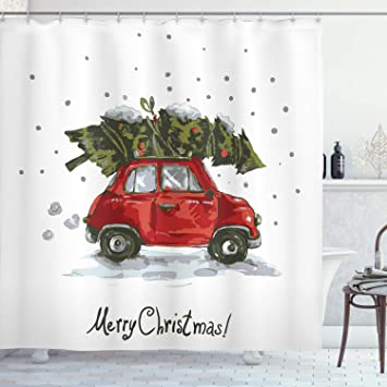 Christmas Shower Curtains Amazon.Ambesonne Christmas Shower Curtain Cloth Fabric Bathroom Decor Set With Hooks Vintage Tree 75 Long