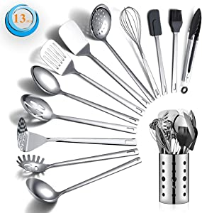 Stainless Steel Cooking Utensils Set, Berglander 13 Pieces Kitchen Utensils Set, Kitchen Tools Set With Utensil Holder Non-Stick And Heat Resistant,Dishwasher Safe, Easy to Clean (13 Packs)