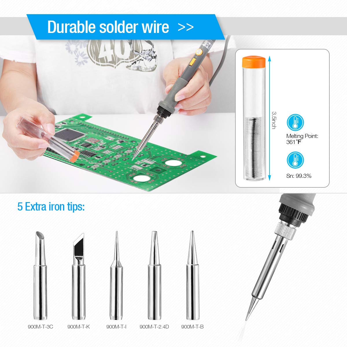 Powerextra 18 in 1 Soldering Iron Kit, 60W 110V Adjustable Temperature Welding Tool with 6 pcs Iron Tips, Solder Sucker, Soldering Iron Stand, Solder Wire, Tweezer