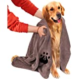 NLUJGYAV Dog Towel Super Absorbent Large Microfiber Embroidered Fast Dry Soft Dog Drying Towels for Large Medium Small Dogs a