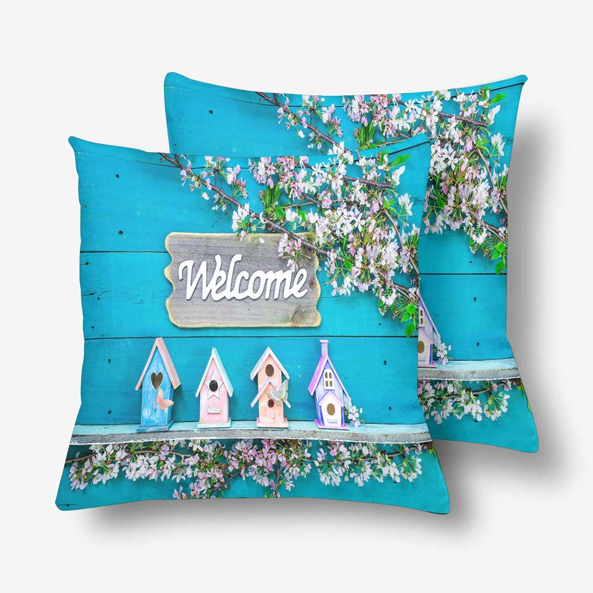 InterestPrint Welcome Sign Birdhouse Butterfly Spring Tree Flower Blue Wood Pillowcase Throw Pillow Covers 18x18 Set of 2, Pillow Sham Cases Protector for Home Couch Sofa Bedding Decorative