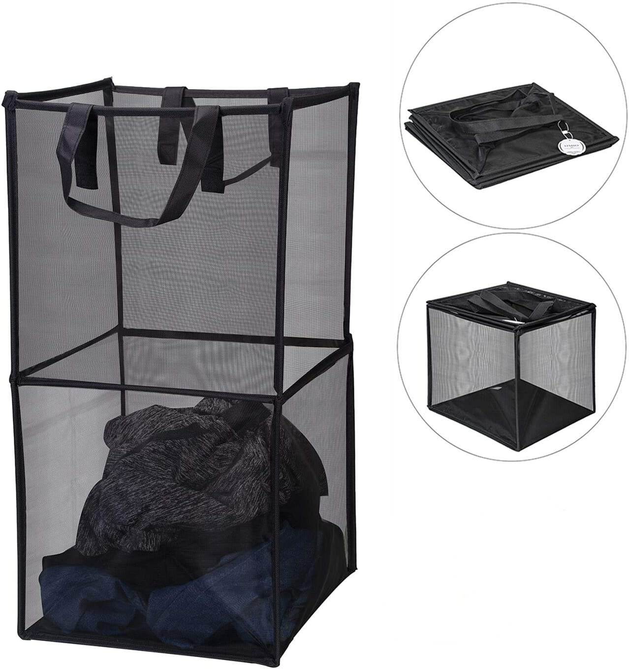 IJMIO Laundry Hamper Foldable Collapsible Mesh Clothes Laundry Basket Pop Up Large Tall Washing Hamper for Bathroom Storage 2 Layers (Black)