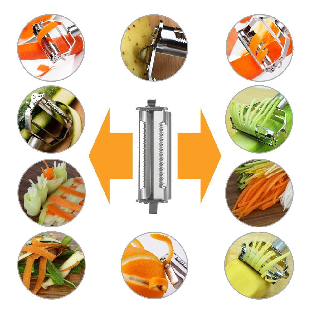 Stainless Steel Potato,Carrot,Cheese,Cucumber Peeler Grater Julienne Slicer Home Kitchen Tool for Fruit and Vegetable