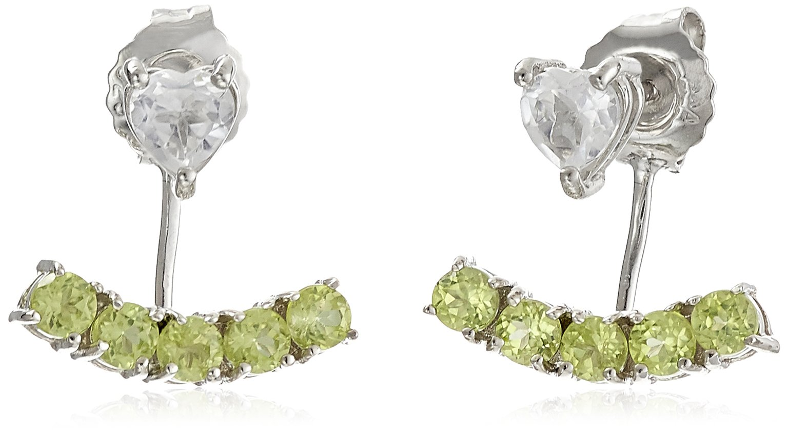 Sterling Silver with Genuine Peridot and White Topaz Earring Jackets