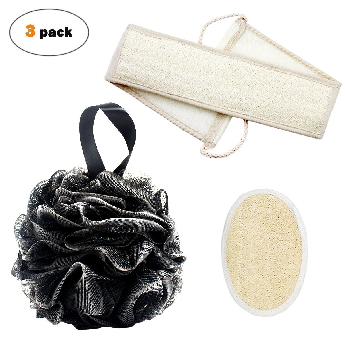 Bath Shower Sponge Loofahs 55g and Loofah Exfoliating Back Scrubber with Double Side Scrubbing Strap and Sponge Pad for Men and Women Qntry