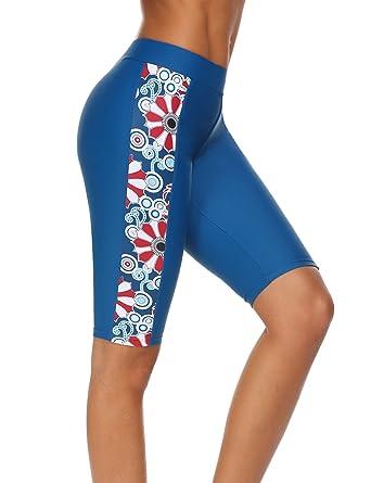 HOTOUCH Damen Badeshorts UV Schutz Bikinihose Gedruckte Shorts Wassersport Schwimmshorts Boardshorts Yoga Shorts große Größen