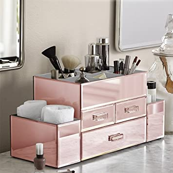 Amazoncom OnDisplay Amara 3 Drawer Tiered Rose Gold Mirrored