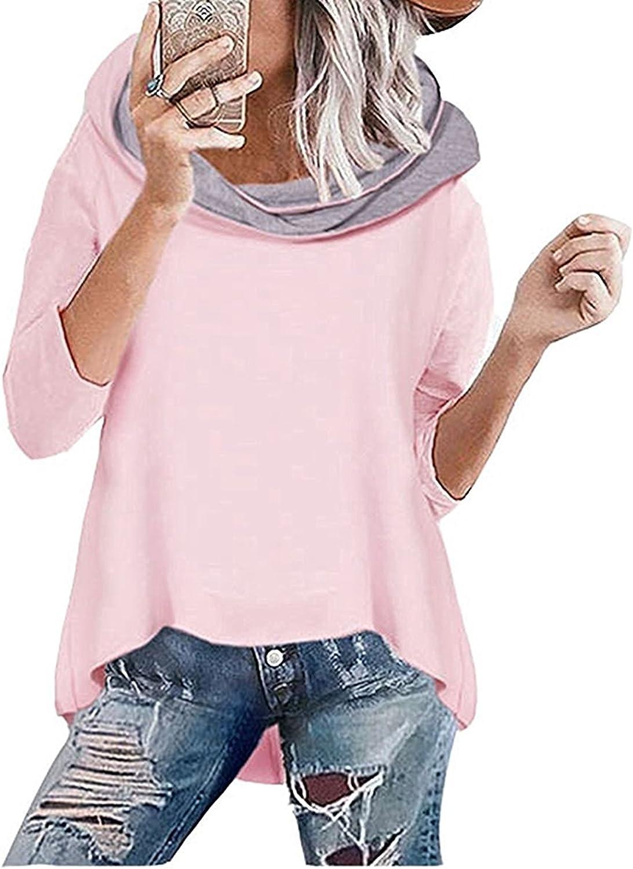 TALLA L. Socluer Sudadera con Capucha para Mujer Rosa Sudadera de Manga Larga con Cuello Alto Otoño e Invierno Jersey de Punto
