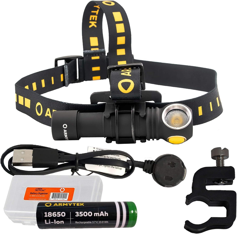 Bicycle Mount Included Armytek Wizard C2 Pro v4 XHP50.2 Warm White LED Headlamp Flashlight USB Rechargeable 18650 Li-Ion Battery