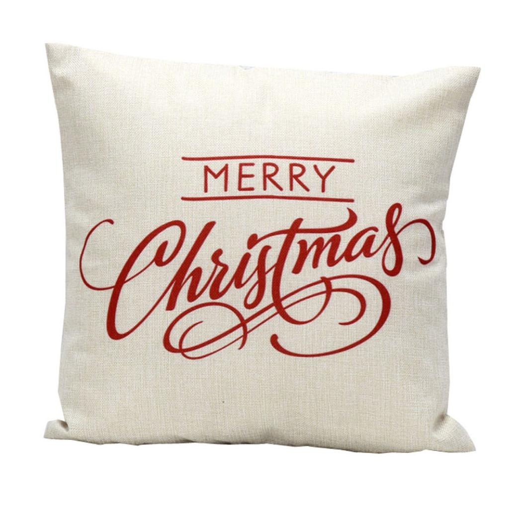 Lavany Merry Christmas Letter Sofa Bed Home Decoration Festival Pillow Case Cushion Cover (White)