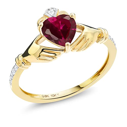 Gem Stone King 1.02 Ct Irish Celtic Claddagh Red Created Ruby Diamond Accent 10K Yellow Gold Ring