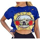 Chuanqi Women's Short Sleeve Ripped Guns N Rose Crop Tops Shirt