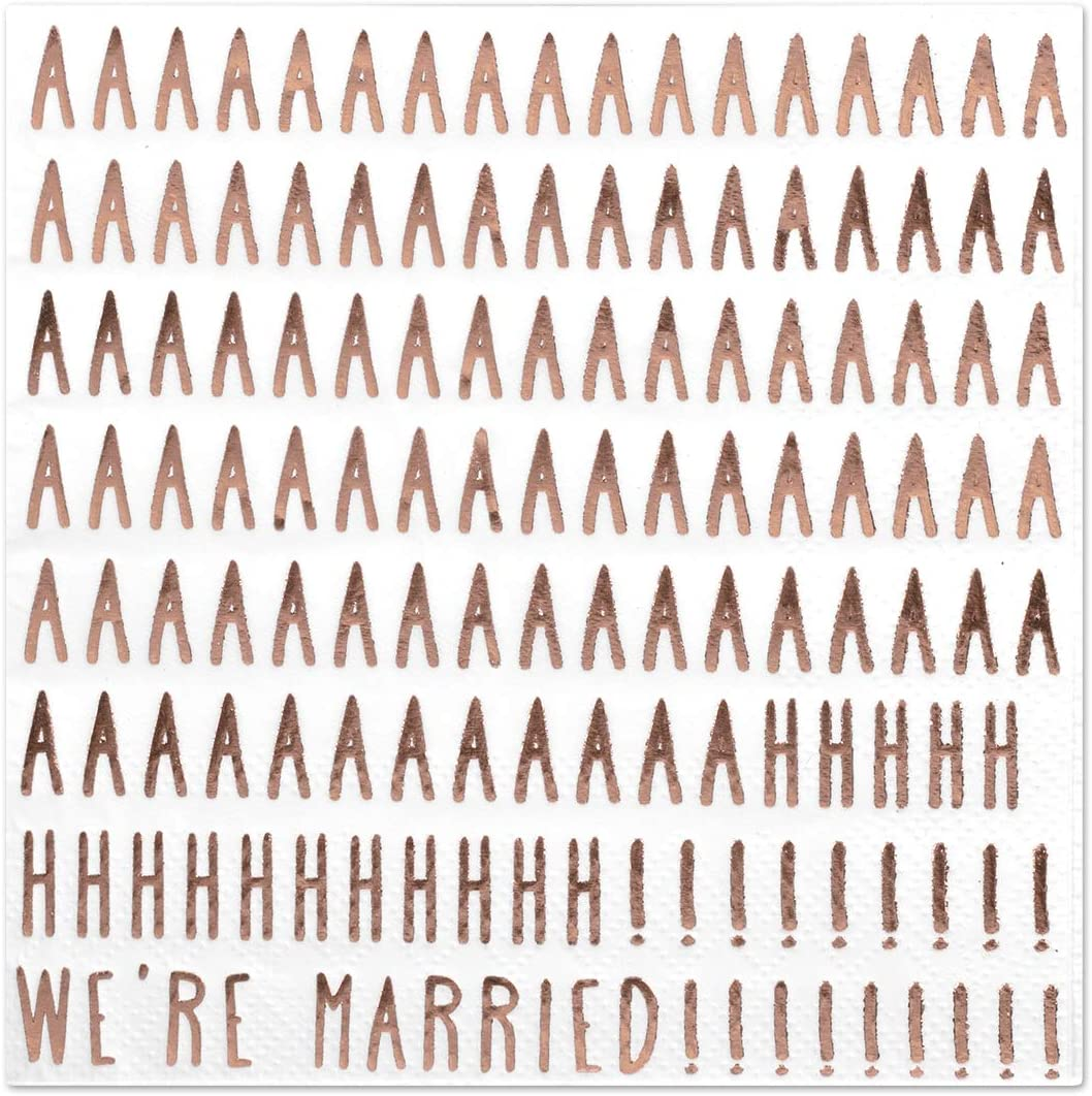 Andaz Press We're Married! Funny Quotes Cocktail Napkins, Rose Gold Foil, Bulk 50-Pack Count 3-Ply Disposable Fun Beverage Napkins for Engagement Party, Bridal Shower, Wedding Reception Bar
