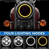 Aow Attractive Offer World 7 Inch 6 LED Headlight Dual Color DRL Ring Universal for All Royal Enfield Models (White and Amber, Single Unit) H-43