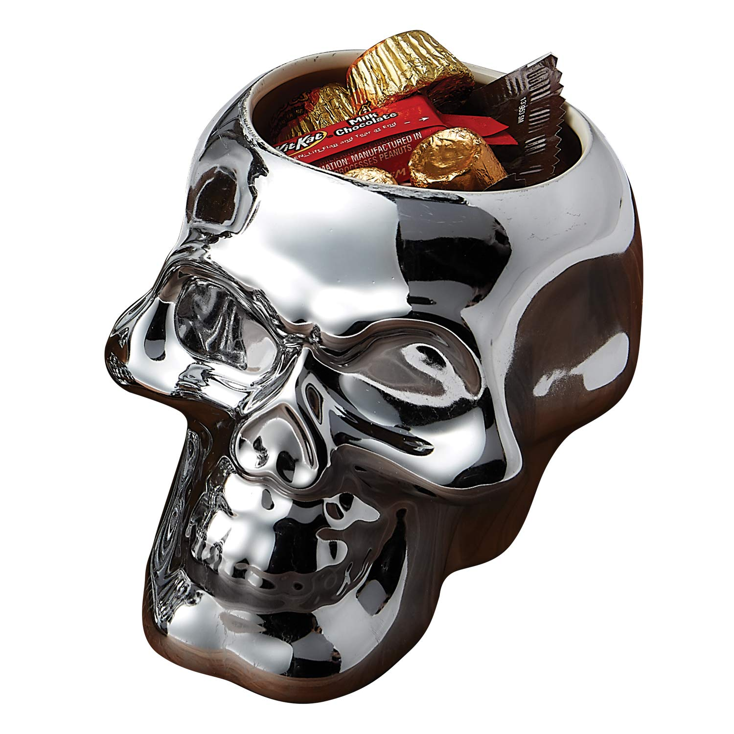 Silvertone Mirror Skull Shaped Small 4.5 x 4 Inch Earthenware Candy Bowl Design Imports