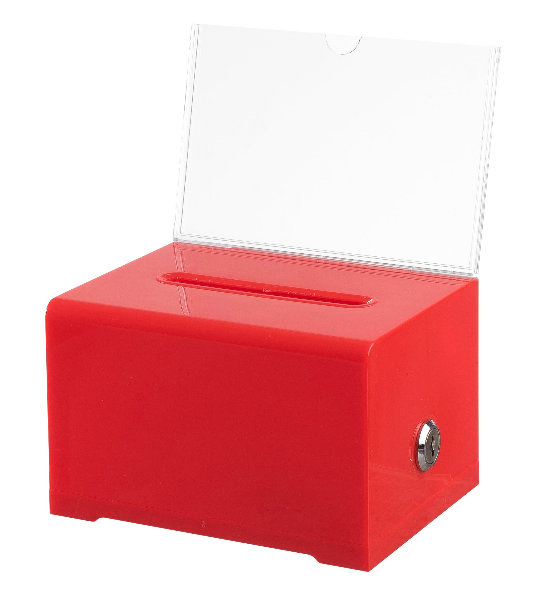 Adir Acrylic Donation & Ballot Box with Lock (6.25'' X 4.5'' X 4'') - Red