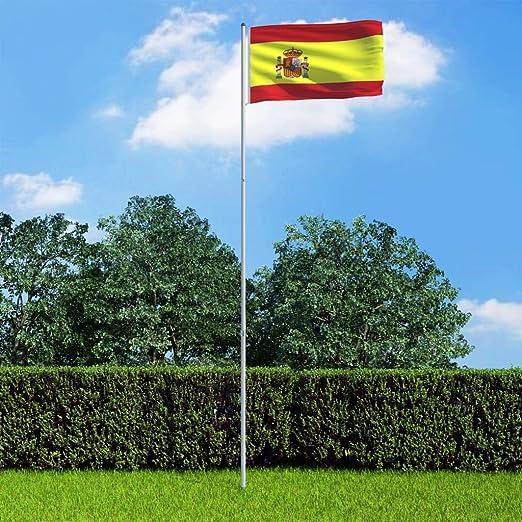 Benkeg Bandera de España y Mástil de Aluminio 90 x 150 cm, 6 m, Bandera Nacional: Amazon.es: Hogar